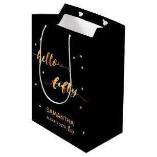 50th Birthday Party Gold Black Hello Fifty Medium Gift Bag