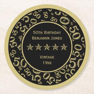 50th Birthday Party Gold/Black Round Pattern Round Paper Coaster
