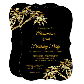 50th Birthday Party Gold Golden Bamboo Black Card