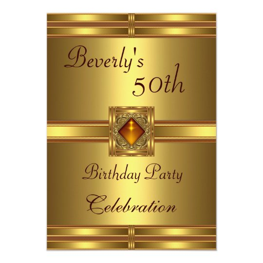50th Birthday Party Gold on Gold 13 Cm X 18 Cm Invitation Card