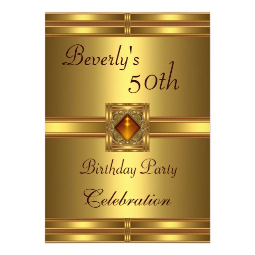 50th Birthday Party Gold on Gold Invitation