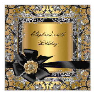 50th Birthday Party Gold Silver Black Bow Card