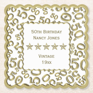 50th Birthday Party Gold/White Pattern Theme Paper Coaster