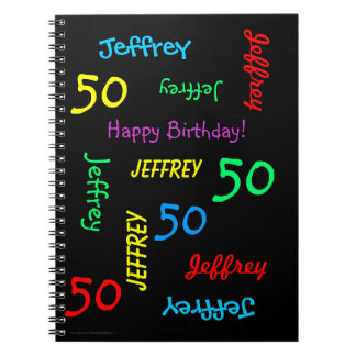 50th Birthday Party Guest Book, Repeat Name Black Notebook