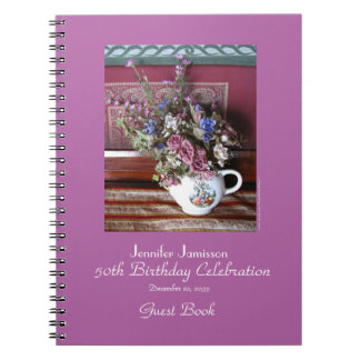 50th Birthday Party Guest Book, Vintage Teapot Notebook