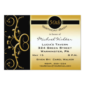 50th Birthday Party in Elegant Black and Gold Invitations