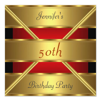 50th birthday Party Invitation Gold Red
