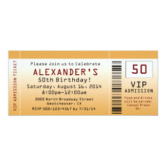 50th Birthday Party Invitation Golden Ticket