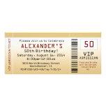 50th Birthday Party Invitation Goldtone Ticket
