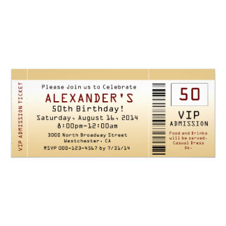 50th Birthday Party Invitation Goldtone Ticket