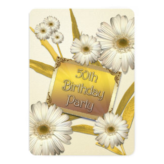 50th Birthday Party Invitation with daisies
