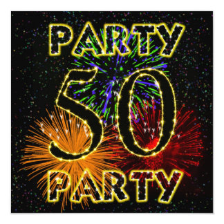 50th birthday party invitation with fireworks