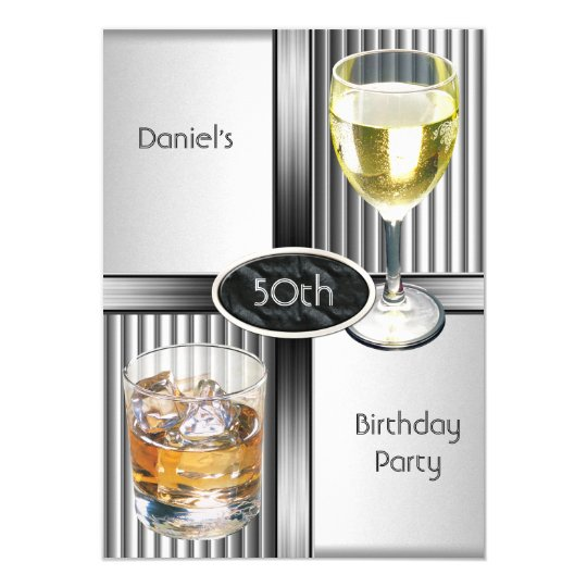 50th Birthday Party Mens Drinks Metal Black Silver Card