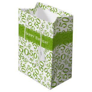 50th Birthday Party Number Pattern Green And White Medium Gift Bag