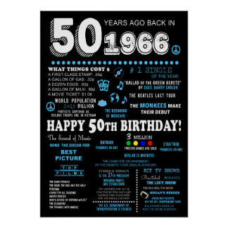 """50th Birthday Party Poster  """"1966"""""""