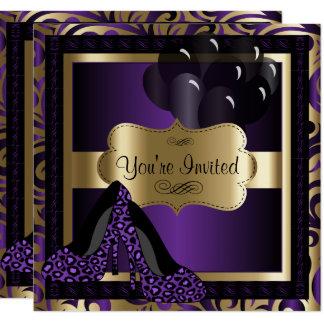 50th Birthday Party | Purple Leopard High Heels Card