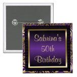 50th Birthday Party | Purple Metallic & Gold 15 Cm Square Badge