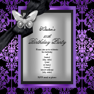 50th Birthday Party Purple Silver Damask Butterfly Invitation