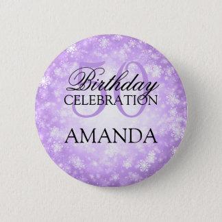 50th Birthday Party Purple Winter Wonderland 6 Cm Round Badge
