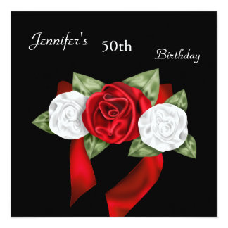 50th Birthday Party Red Black Red White Regal Rose Custom Invitations