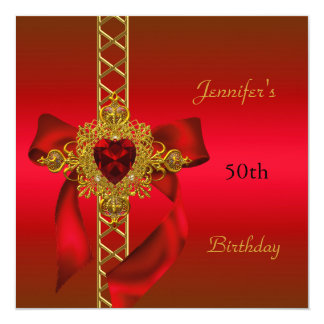 50th Birthday Party Red Gold Heart Jewel 2 13 Cm X 13 Cm Square Invitation Card