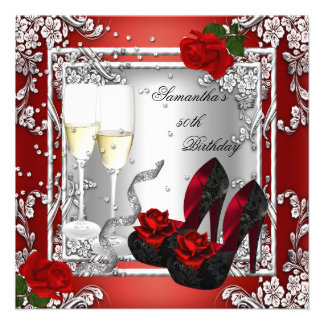 50th Birthday Party Red Rose Silver Custom Invites