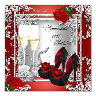 50th Birthday Party Red Rose Silver 5.25x5.25 Square Paper Invitation Card