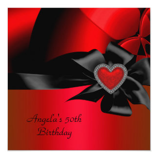 50th Birthday Party Red Silver Abstract Black 13 Cm X 13 Cm Square Invitation Card