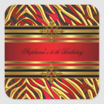 50th Birthday Party Red Zebra Gold Black Square Sticker