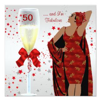 50th Birthday Party Retro Diva Art deco Red White Card