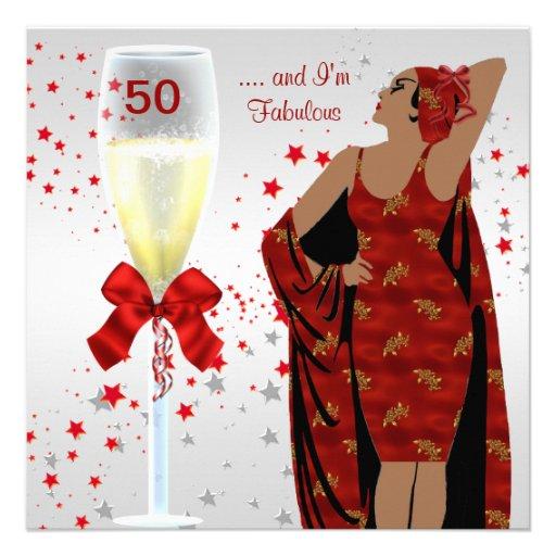 50th Birthday Party Retro Diva Art deco Red White Announcement