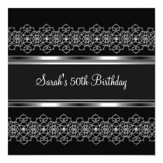 50th Birthday Party Silver on Silver Lace Black Card