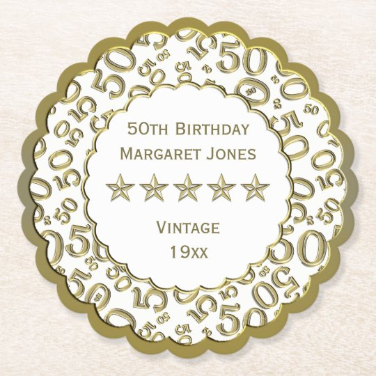 50th Birthday Party White /Gold Pattern Theme Paper Coaster