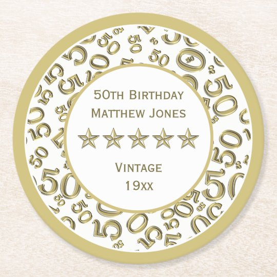 50th Birthday Party White /Gold Round Pattern Round Paper Coaster