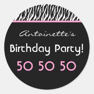 50th Birthday Party Zebra with Pink Custom Name V4 Classic Round Sticker