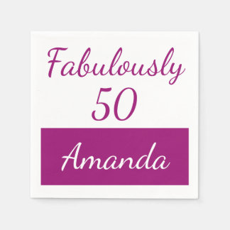 50th birthday Personalize fabulously 50 Disposable Napkin