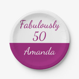 50th birthday Personalize fabulously 50 Paper Plate