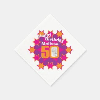 50th birthday photo and name pink star napkins paper napkin