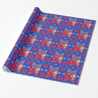 50th Birthday photo fun blue red gift wrap