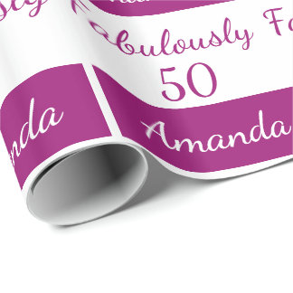 50th birthday Pink fabulously 50 Wrapping Paper