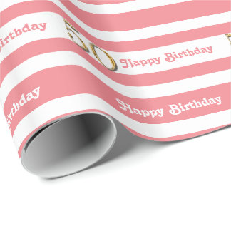 50th birthday pink gold women wrapping paper