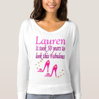 50TH BIRTHDAY PINK SHOE QUEEN PERSONALIZED T SHIRT