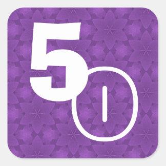 50th Birthday Purple Stars Square Sticker