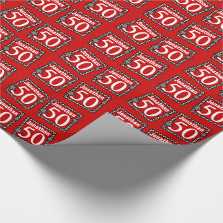 50th Birthday Red with Checked Stars Wrapping Paper