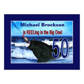 50th Birthday - Reeling in the Big One (Fish) 14 Cm X 19 Cm Invitation Card