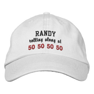 50th Birthday Rolling Along WHITE and RED V04 Embroidered Baseball Caps