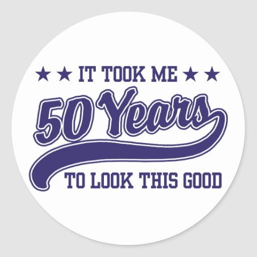 50th Birthday Round Sticker