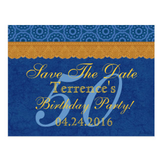 50th Birthday Save the Date Blue and Gold Lace Postcard
