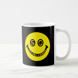 50th birthday Smiley Face, It's only a number! Mug