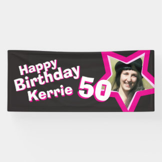 50th birthday star custom photo banner